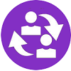 people cycle flat icon with purple background