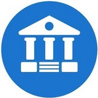 Courthouse flat icon with blue background