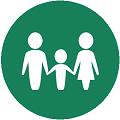 family flat icon with green background