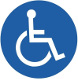 wheelchair international flat icon with blue background