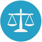 legal balance flat icon with light blue background