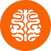 human brain flat icon with orange background
