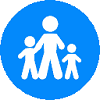 childcare flat icon with blue background