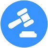 judges gravel flat icon with blue background