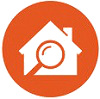 house and magnifying glass flat icon with orange background