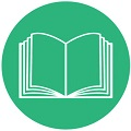 open book flat icon with green background
