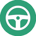 steering wheel flat icon with green background