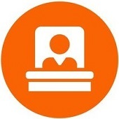 Judge flat icon with orange background