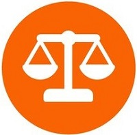 Legal balance flat icon with orange background