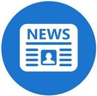 Newspaper flat icon with blue background