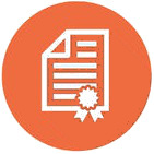 document flat icon with orange background